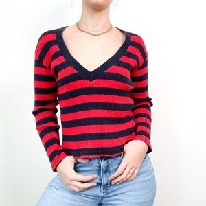 Vintage Chunky Knit Striped V Neck Sweater